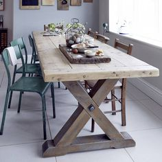 31 Of The Most Brilliant Modern Dining Table Design Ideas - Best Home Ideas and Inspiration I've just found Reclaimed Timber Country Dining Table. This beautiful chunky reclaimed pine table Country Dining Tables, Timber Dining Table, Farmhouse Kitchen Tables, Dinning Room Tables, Trestle Dining Tables, Dining Table Design, Modern Dining Table, Reclaimed Wood Dining Table, Farm Tables