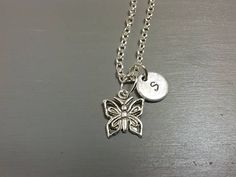 Butterfly Necklace Initial Necklace Custom Necklace Letter