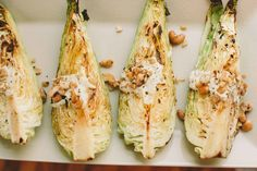 Warm Pointed Cabbage with Lemon-Garlic Cashew Dressing