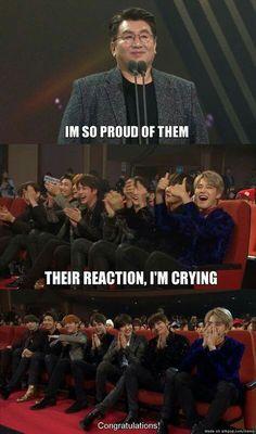 We're also sooooo proud of you PD min & bts! ♥ T^T – BTS love Bts Selca, Bts Taehyung, Bts Bangtan Boy, Bts Jimin, Jungkook Funny, Bts Memes Hilarious, Bts Funny Videos, Funny School Jokes, Dad Jokes