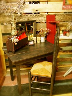 Primitive Desk And Mirror With Ladder Back Chair ~ Found At The Just Plain  Country Store