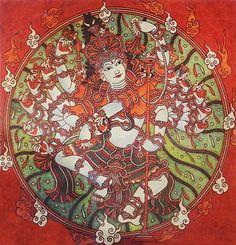Shiva as Nataraja - Kerala mural style Mural Art, Indian Art, Fabric Painting, Kerala Mural Painting, Art, Tanjore Painting, Kalamkari Painting, Indian Art Gallery, Painting Blog