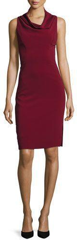Milly Sleeveless Cowl-Neck Sheath Dress, Bordeaux