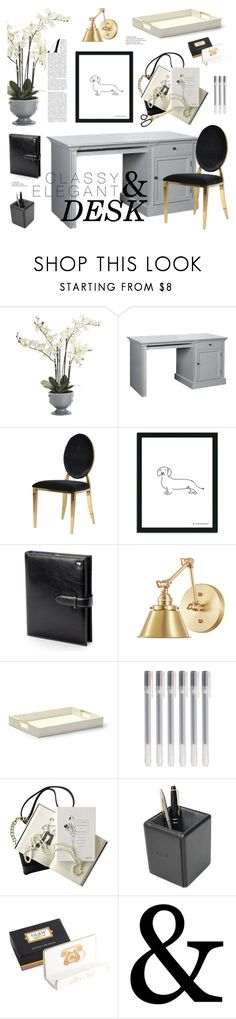 """Classy & Elegant Desk"" by emmy ❤ liked on Polyvore featuring interior, interiors, interior design, home, home decor, interior decorating, Pier 1 Imports, Aspinal of London, AERIN and Mark & Graham"