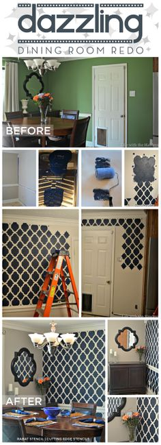 Rabat Stencil by Cutting Edge Stencils was used in this gorgeous dining room makeover! http://www.cuttingedgestencils.com/moroccan-stencil-pattern-3.html