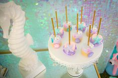 Marshmallow pops from a Mermaid Birthday Party on Kara's Party Ideas | KarasPartyIdeas.com (17)