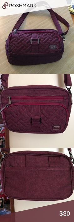 This is a fabulous Crossbody bag for travel. This bag is lightweight, has compartment in the front that is RFID compliant and it has 4 zippered porches.  You can also take the crossbody off, loop through the back of bag and wear around your waist. This bag sold on QVC for 50.00 LUG Bags Crossbody Bags
