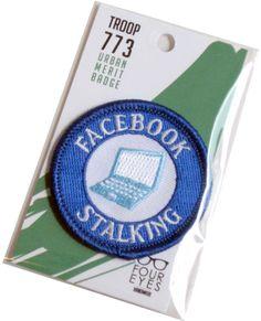 Facebook Stalker  Modern Merit Badge  Iron On by FourEyesHandmade, $8.00