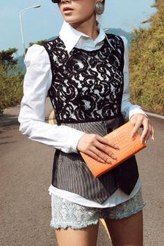 White Shirt and Lace Vest OASAP.com