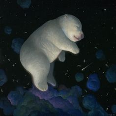 Imagine a fantasy world were the bears majestically float in space and laze in flowers.