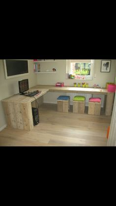 DIY office this would be perfect just make it more horseshoe shaped then L.