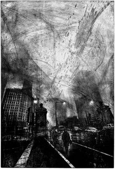 """LONESOME TOWN"" by Michael Goro. Etching / Engraving, Subject: Architecture and cityscapes, Impressionistic style, From a limited edition of Signed and numbered on the front, Size: x x Intaglio Printmaking, Collagraph, Drypoint Etching, Etching Prints, Ecole Art, A Level Art, Red Aesthetic, Ex Libris, Urban Landscape"