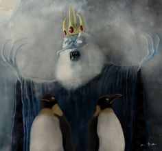 O`ll Ice King from Adventure Time by Degenerart. Scary Drawings, Cartoon Drawings, Land Of Ooo, King Painting, Misfit Toys, Fanart, Ice King, Smosh, Cartoon Network Adventure Time
