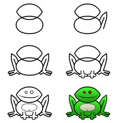 How to draw cartoon frogs step 3