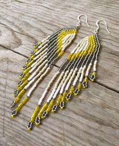 Beaded Earrings Seed Bead Earrings Medium by EmeraldArtDesigns
