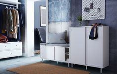 Looking for smart storage solutions for your small hallway? IKEA offers a wide range of hallway furniture such as MACKAPÄR shoe cabinet with storage compartments and space-saving sliding doors. Hallway Storage Bench, Shoe Storage Cabinet, Wall Storage, Storage Cabinets, Entryway Bench, Armoire Ikea Ps, Design Entrée, Blue Wall Colors, Hallway Furniture