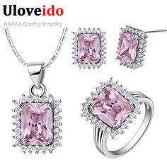 Find More Jewelry Sets Information about Cheap Fashion Multicolor Bridal Jewelry Sets Purple Square Necklace Crystal Earrings Ring Vintage Zircon Bisuteria Uloveido T522,High Quality earring clasp,China earings red Suppliers, Cheap earrings monet from Uloveido Official Store on Aliexpress.com