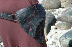 Utility Festival Belt Bag Leather Leaf hip Pocket Belt  in black reseverd for  Aparna Muppet-Baby's
