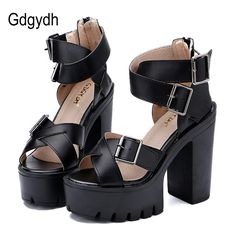 >> Click to Buy << Gdgydh Summer Women Sandals High Heels Daughter Gift 2017 Platform Shoes Woman Fashion Buckle Soft Leather Ladies Shoes Zipper #Affiliate