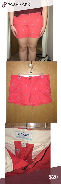 OLD NAVY CORAL ANCHOR SHORTS!!!⚓️ Coral colored. Blue anchors. Brand new with out tags. Old Navy Shorts