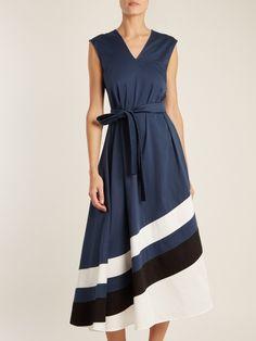 Carl Kapp Marine striped-hem stretch-cotton dress