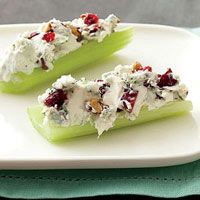 Blue Cheese & Pecan Stuffed Celery - 4 ounces softened cream cheese, 1/2 cup crumbled blue cheese, 1/2 cup chopped toasted pecans, 2 tablespoons chopped dried cranberries. Spread on celery & top with cracked pepper.