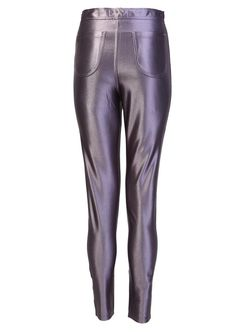 SHINY DISCO PANT IN GUNMETAL GREY