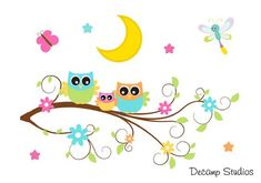 Owl Tree Wall Mural Wall Decal for baby girl woodland forest animals nursery or children's room decor. A family of owls out on a moon lit evening surrounded by the beautiful stars, a butterfly, and a dragonfly Owl Nursery Decor, Nursery Decals, Girl Nursery, Nursery Wallpaper, Wall Mural Decals, Tree Wall Murals, Tree Branch Crafts, Floral Room, Owl Tree