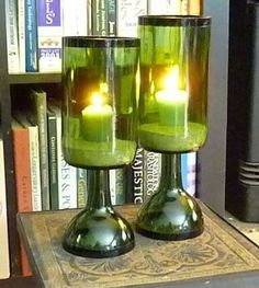 Fabulous Collection Of DIY Glass Bottle Candle Holders glass bottle crafts Wine Bottle Candle Holder, Wine Bottle Corks, Glass Bottle Crafts, Diy Bottle, Candle Holders, Glass Holders, Diy Luminaire, Recycled Wine Bottles, Diy With Wine Bottles