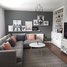 Our scandi inspired living room in Wilmslow, Cheshire Living Room Decor Cozy, Living Room Grey, Small Living Rooms, Home Living Room, Small Living Room Sectional, Charcoal Sofa Living Room, Small Living Room Designs, Room Wall Decor, Interior Design Living Room