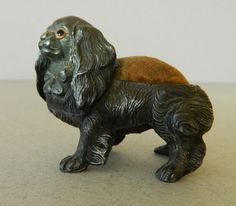 Antique Spelter Spaniel Dog Pin Cushion from antiquepooch on Ruby Lane