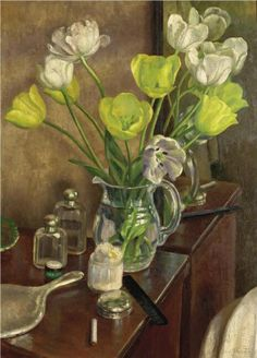 Dod Procter (1891-1972) Tulips on the dressing table