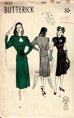 Butterick 4020 | 1940s Two-Piece Dress