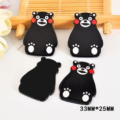 50pcs 33*25MM Cartoon Kumamon Bear Resin Flatback Kawaii Black Planar Resin DIY Craft For Home Decoration Accessories DL-715