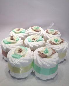 Mini Flower Diaper Cake http://babyfavorsandgifts.com/mini-flower-diaper-cake-p-46.html