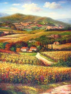 ed8a27b00a1 Wine Country landscape paintings · Big beautiful Tuscan vineyard painting