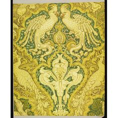 Portion of 'Cockatoo' wallpaper, a design featuring cockatoos, peacocks, pomegranate fruit and a large iris flower, in shades of green and (?)yellow; Designed by Walter Crane; Colour woodblock print on paper; Exhibited at the International Exhibition, Paris, 1900; Produced by Jeffrey & Co.; England; 1891.