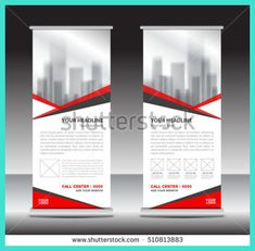 Pink Roll Up Business Brochure Flyer Banner Design Vertical