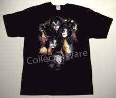 KISS band drawing 7 CUSTOM ART UNIQUE T-SHIRT   Each T-shirt is individually hand-painted, a true and unique work of art indeed!  To order this, or design your own custom T-shirt, please contact us at info@collectorware.com, or visit  http://www.collectorware.com/tees-kiss.htm