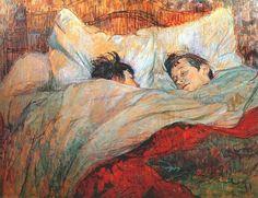 """""""In Bed"""".  (1893). (by Henri de Toulouse-Lautrec)."""