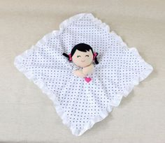 Carters-Black-Polka-Dot-Doll-Baby-Girl-Lovey-Security-Blanket-Toy-Rattle