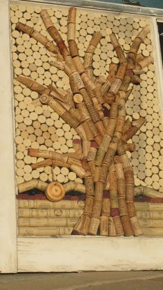 wine cork tree mosaic cork board with by ThroughthePorthole--could we do a large version of this on a wall?....Could be a fun way to use cork!