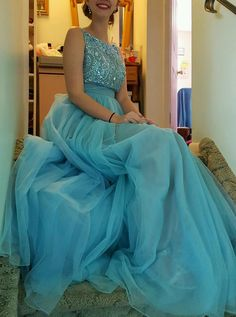 Gorgeous Long Scoop A-line Beads Blue Prom Dress with Ribbon, Shiny Sexy Beaded Crystal Long Prom Dresses, A Line Women Party Gowns ,Plus Size Bakless Party Gowns Prom Dresses For Teens, Unique Prom Dresses, Cheap Evening Dresses, Backless Prom Dresses, A Line Prom Dresses, Prom Party Dresses, Cheap Dresses, Party Gowns, Bridesmaid Dresses