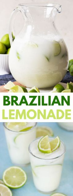 BRAZILIAN LEMONADE (LIMEADE) Brazilian Lemonade, Brazilian Limeade – anything you desire to call it, this is one flavorful and reviving beverage that we appreciate all year! Refreshing Drinks, Summer Drinks, Fun Drinks, Healthy Drinks, Healthy Lemonade, Beverages, Healthy Recipes, Drinks Alcohol Recipes, Non Alcoholic Drinks