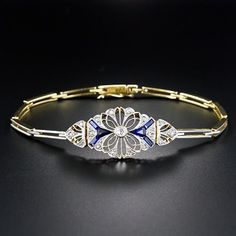Beautiful Edwardian Diamond & Sapphire Bracelet