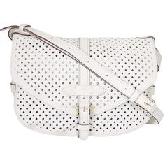 Pre-Owned Louis Vuitton White Flore Perforated Leather Saumur Bag ($2,050) ❤ liked on Polyvore featuring bags, handbags, shoulder bags, white, leather crossbody, leather over the shoulder bags, white leather shoulder bag, leather crossbody handbags and shoulder strap purses
