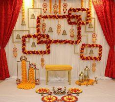 Simple Stage Decorations, Diy Diwali Decorations, Wedding Stage Decorations, Backdrop Decorations, Flower Decorations, Ganpati Decoration Design, Housewarming Decorations, Desi Wedding Decor, Mehndi Decor