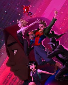 Spider-Man: Into the Spider-Verse - Miles Morales, Penny Parker, Spider-Gwen, Peter Parker, Spider-Man Noir and Spider-Ham by Mingjue Helen Chen * Spider Gwen, Gwen Stacy, Spider Verse, Marvel Art, Marvel Heroes, Marvel Characters, Captain Marvel, Marvel Avengers, Comics