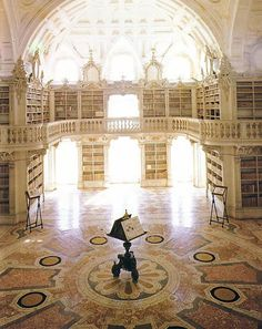 Beautiful Libraries and Bookshops...The great Library of Mafra Convent, Lisbon Region, Portugal, photo via Chris Beer, snip.ly.