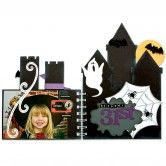 "Great Halloweene theme album!  Made with AccuCut A1070 Album Castle, with or without holes,   can also cut it with holes that coordinate with all my 5-1/5""h album dies, such as Mix & Match Mini. All 6""w. 6 1/4""h, 6 7/8""h, 9""h.  Also have the flourish swirl border die AccuCut BR102, the V1004 Vintage mat, and the mini bat.  Also have a great spiderweb die that would go great with this!  Plus have the mini bats from H1150, a custom ghost similar to the one on H1150, & some custom mini spiders"